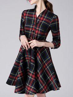 Viva Vena buttoned plaid printed shirt dress from stylewe.com