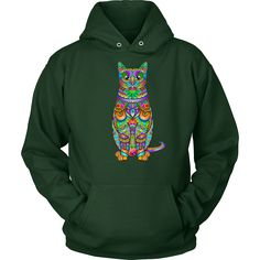 #ColorfulKitte #Hoodie - Wear this #ComfyCatHoodie with #CatLover pride! The bold #CatFace comes on a variety of colors and sizes to choose from! Perfect for wearing at home to lounge around and out on the town to keep warm and stay fashionable!
