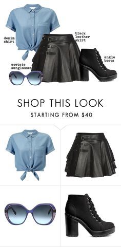 """Trending 9/11/2016"" by lorelei-is-me ❤ liked on Polyvore featuring Miss Selfridge, Mairi Mcdonald, Oscar de la Renta, H&M, Boots, sunglasses, denimshirt and leatherskirt"