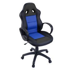 New High Back Race Car Style Bucket Seat Office Desk Chair Gaming Chair Blue