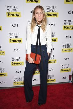 Who: Dree Hemingway What: Sailor Pants Why: The model-actress brings the nautical vibe to the red carpet in navy sailor pants and white blouse, paired with a bold red bag.  Get the look now: Derek Lam pants, $1,096, matchesfashion.com.