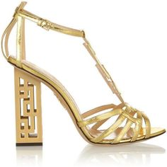 Charlotte Olympia Geometric cutout metallic leather sandals (7,955 SVC) ❤ liked on Polyvore featuring shoes, sandals, heels, gold, high heel sandals, strappy heel sandals, high heel shoes, strap sandals y block heel sandals #charlotteolympiaheelsmetallicleather