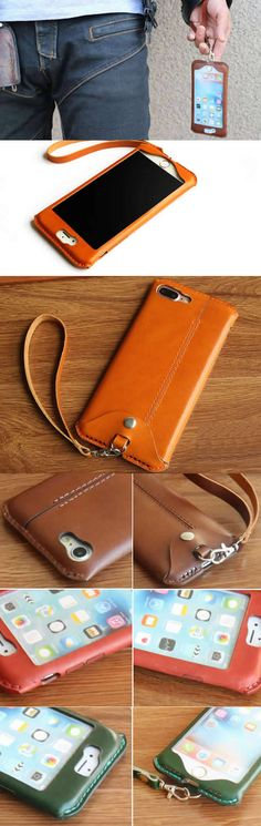 Handmade Genuine Leather iPhone Case Cover with Strap For Iphone 6 6S 6Plus 6S Plus 7 7Plus