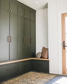 Before our renovation we didnt have a mudroom or even a closet in the back of the house (you too? After a lot of revisions we came up Mudroom Cabinets, Mudroom Laundry Room, Flur Design, Custom Cabinetry, Room Decor, House Design, House Styles, Bootroom, Basement Ceilings