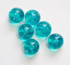 Vintage Blue Acrylic Beads with Confetti 12mm bds528B