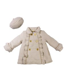 Only $24.99 marked down from $50!! Cream Herringbone Wool-Blend Coat & Beret - Toddler #baby #girl #toddler #toddlers #cream #wool #coat #gold #sale #posh #zulily #zulilyfinds