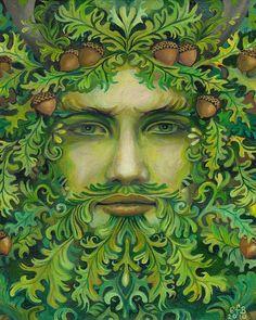 The Oak King - Green Man Pagan God 8x10 Print. $15.00, via Etsy. Love the emotions on the face.