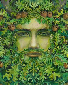 The Oak King - Green Man Pagan God 8x10 Print. $15.00, via Etsy. Love the emotions on the face.