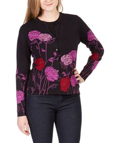 Look at this #zulilyfind! Fuchsia & Black Floral Cardigan #zulilyfinds