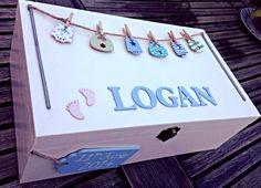Baby memory box, baby keepsake box. Baby washing line, new baby, personalised memory box on Etsy, $44.35