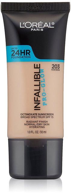 L'Oreal Paris Cosmetics Infallible Pro-Glow Foundation, #203 Nude Beige, 1Oz