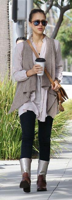 Jessica Alba in Michael Stars Asymmetrical Vest