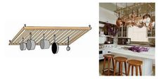 Kitchen pot rack -who would have thought! Use an old crib (side) to hand pots and pans in the kitchen. Refurbished Furniture, Upcycled Furniture, Diy Projects To Try, Home Projects, Old Cribs, Drying Rack Laundry, Diy Crib, Small Space Living, Home Organization
