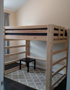 Loft Bed - Bargain Box and Bunks Queen Loft Beds, Low Loft Beds, Loft Bed Frame, Diy Bed Frame, Desk Under Bed, Dyi Beds, Loft Bed Plans, Diy Furniture Building, Ikea Micke