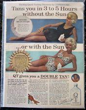 1966 Vintage QT Coppertone Suntan Lotion Tanning Sun Tan 1960's Fashion AD