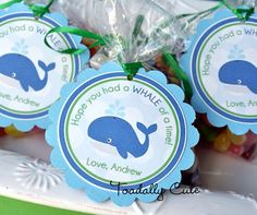 Ocean Preppy Boy Party Theme - Whale of a Time Thank You Tags