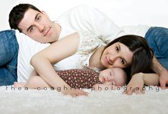 Love this pose but I would do it with daddy next to baby and mom laying on daddy.