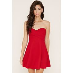 Forever 21 Women's  Textured Mini Skater Dress ($28) ❤ liked on Polyvore featuring dresses, short mini dresses, red mini dress, strapless dress, sweetheart dress et short strapless dresses