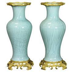 Pair of Impressive French Gilt-Bronze Mounted Vases (late 19th century)