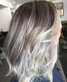 Brown Layered Hair With Silver Balayage