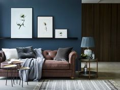 Blue and Brown | Chic Ways To Style A Brown Sofa In Your Living Room