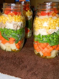 Farm Girl Tails: Layered Chicken Soup I love the look of this, but personally, I'd leave out the chicken.