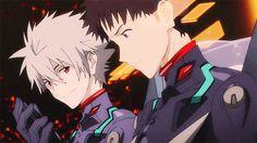 kaworu and shinji I seriously LOVE how Kaworu is always watching Shinji