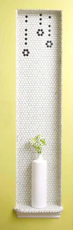 Hex tiled niche Love the whimsical design, but would use solid shelf and surround for more polished look Bathroom Inspiration, Kitchen Flooring, Bathroom Niche, Flooring, Recycled Tile, Mosaic, Upstairs Bathrooms, Modern Craftsman, Hex Tile