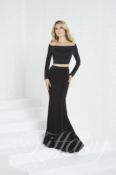 e33602a42923 Tiffany Designs 16311 is a two piece jersey prom dress with off the  shoulder long sleeves and sparkle details on the crop top