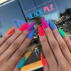 23 pretty ways to wear rainbow nails this summer - StayGlam 23 Pretty Ways to Wear Rainbow Nails This Summer Matte rainbow stiletto nails Rainbow Nails, Neon Nails, My Nails, Matte Stiletto Nails, Gradient Nails, Summer Stiletto Nails, Neon Nail Art, Ombre Nail, Jewel Nails