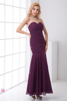 Purple Pleated Chiffon Sweetheart Ankle Length Strapless Allure Prom Dress