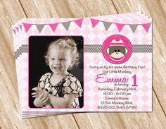 Girl Sock Monkey Birthday Invitation with Photo - Printable Digital Design