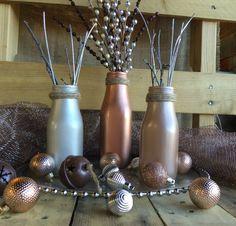 Milk Bottle Vases Metallic Vases Table by VintageDaisyHome on Etsy