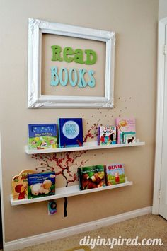 Reading Nook for Kids - library book storage and easy availability- for basement playroom Diy Décoration, Diy Crafts, Reading Nook Kids, Nursery Reading, Reading Wall, Deco Kids, Home Decoracion, Kids Library, Library Room