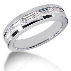 0.90ct Baguettes Diamond Men's Wedding Ring 14kt White Gold JEWELFORME BLUE