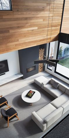 Bloomfield: Modern House with Fairly Closed Front Elevation, House interior, Living Room Interior, Home Interior Design, Interior Architecture, Interior Ideas, Interior Styling, Modern Home Interior, Architecture Sketches, Simple Interior, Home And Living