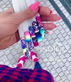 Indigo Nails Design by Indigo Educator Emilia Maria Dąbrowska, Warszawa Wow Nails, Sexy Nails, Nude Nails, Spring Nails, Summer Nails, Dream Catcher Nails, Nail Art Wheel, Aztec Nails, Nail Mania