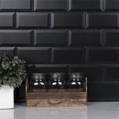 Black Subway Tiles, Black Tiles, Black Backsplash, Kitchen Backsplash, Dream Home Design, House Design, Online Tile Store, Dark House, Kitchens