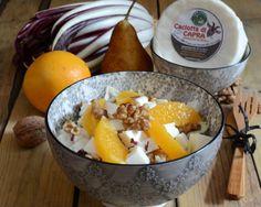 Misticanza di radicchi con Caciotta di Capra, noci e arancia