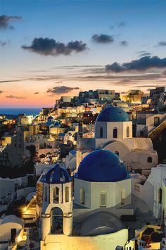 Sunset view of lovely Santorini, Greece