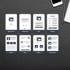 New mobile UX flowchart card templates for profile, chat, gallery and news feed screens.