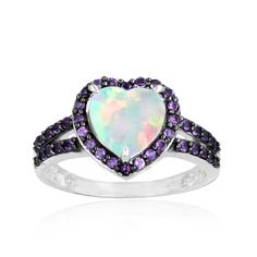 Glitzy Rocks Sterling Silver Opal and Amethyst Heart Ring - Overstock™ Shopping - Top Rated Glitzy Rocks Gemstone Rings