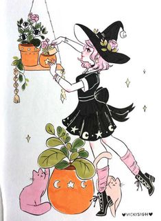 Witchy Vibes — vickisigh: Week 1 of Inktober! My theme this. Character Inspiration, Character Art, Art Sketches, Art Drawings, Witch Drawing, Witch Art, Halloween Art, Cute Art, Art Inspo