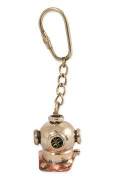Wedding Mens Brass Brass Keychain | Formal | Bridal | Prom | Tuxedo || Miniature Brass Divers Helmet Keychain