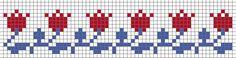 tulip border from Stitches & Crosses by Marijke – Steekjes & Kruisjes van Marijke – Join in the world of pin Fair Isle Knitting Patterns, Knitting Charts, Loom Patterns, Crochet Chart, Filet Crochet, Diy Embroidery, Cross Stitch Embroidery, Cross Stitch Designs, Cross Stitch Patterns
