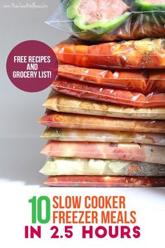 MAKE 10 SLOW COOKER FREEZER MEALS IN 2.5 HOURS! Free recipes and grocery list included. If you want to eat healthy without slaving away in the kitchen this is the easiest way to do it. I tried these recipes and they were so yummy.
