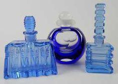 3 VINTAGE BLUE GLASS PERFUME SCENT BOTTLES