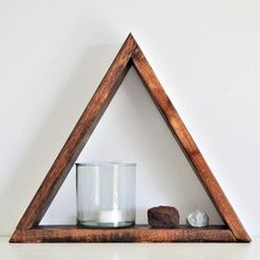The Pyramid Shelf with hanger Hexagon Shelves, Small Potted Plants, Staining Wood, Shelves, Glass Shelves, Stud Walls, Home Decor, Home Interior Accessories, Meditation Decor