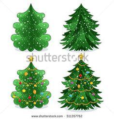 Funny Christmas tree and vector christmas tree on white background. Cartoon Christmas tree icon and Christmas tree set vector.