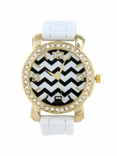 White Chevron Face Jelly Watch with Crystal Surround